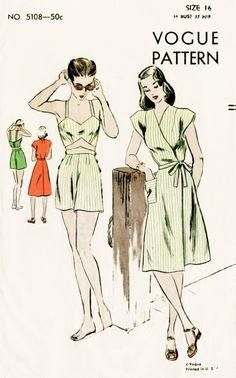 1940s 40s vintage Vogue 5108 sewing pattern crop top bikini bra, shorts, wrap dress beach swim bathing suit waist 26 w26 bust 34 b34 repro by LadyMarloweStudios on Etsy