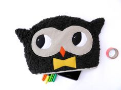 8inch brown owl zipper pouch with a yellow bowtie -  in fluffy fleece by One Little Red Fox aka Julie Camaille on Etsy©