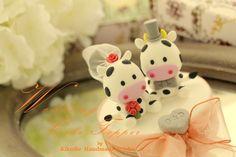 LOVE ANGELS Wedding Cake Topper-love cow,ox. $120.00, via Etsy.