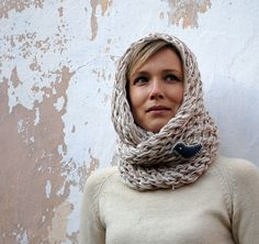 KNITTED COWL SCARF Head Scarf Winter Accessories by uKvetinky