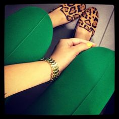 love the leopard shoes and emerald green together! - I do this with my green dress.