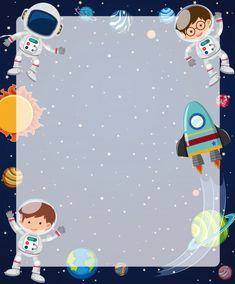 Molde de fronteira com astronautas voando no céu Vetor Premium Space Party, Space Theme, Kids Background, Background Banner, Vector Background, Space Preschool, Space Artwork, School Frame, Powerpoint Background Design