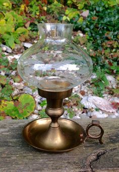 FREE SHIPPING..Vintage Brass Bedchamber Hurricane Lamp-Candlestick Holder-Candle Holder-Shabby Chic-Farmhouse Decor-Primitive