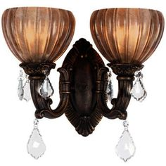 Monaco Design Aged Bronze Wall Sconce with Tuscan Glass and Crystal Accents SKU# 11148 Bronze Wall Sconce, Wall Sconces, Lighting Sale, Fairy Lights, Light Fixtures, Bathroom Lighting, Ceiling Lights, Ceiling Fans, Chandelier