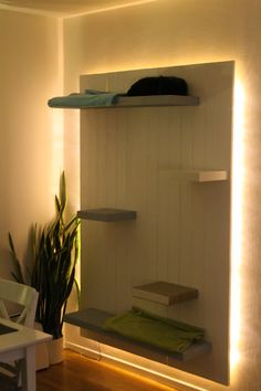 DIY cat climing wall - love the back lighting - good for living room