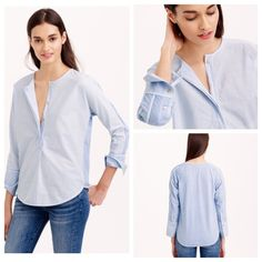 NWT J Crew Pink Sand Henley Top Blouse Sz M Made from traditional shirting fabric in the front and soft T-shirt cotton in the back, this henley hybrid is finished with dolman sleeves and chic high cuffs—aka you look polished and stay comfortable whether you're coming or going. Cotton. Machine wash. Import. J. Crew Tops Blouses