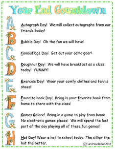 End Countdown Activities Freebie ABC's End of School Year Activities for each letter of alphabet! Fun and free!ABC's End of School Year Activities for each letter of alphabet! Fun and free! End Of School Year, Too Cool For School, School Fun, School Days, School Themes, Kindergarten Classroom, Classroom Activities, Classroom Freebies, Classroom Ideas