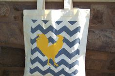 Chevron and Rooster Tote  Gray / yellow by MODERNVINTAGEMARKET, $15.00