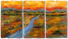 Streams in the Desert fused glass panels by Anne Nye