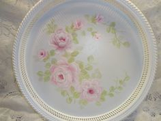 STUNNING ROSE TRAY ~ WHITE with PINK Roses ~ so pretty in person!!  avail on ebay ~ artist sunny-sommers