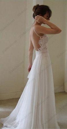 Sexy backless flowy chiffon boho beach wedding dresses