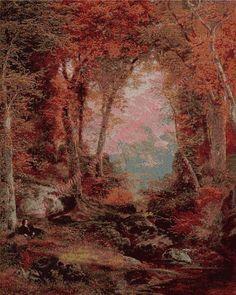Gráfico a punto de cruz - La otoñal Woods (bajo los árboles) de Thomas Moran 54…
