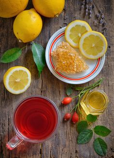 Tea with lemon and honey - Tea with lemon and honey on wooden background