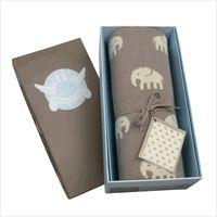 Weegoamigo Baby Blanket - Stampede (Elephants) - Mink