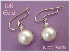 10K Gold - 10 mm Akoya White Pearl Earrings - Esemco - Great Christmas Gift - Estate Antique - FREE SHIPPING by FindMeTreasures on Etsy