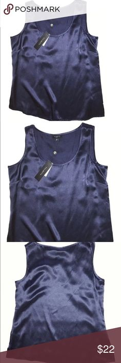 NEW Talbot's Silk Shell Top NEW Talbot's Silk Sleeveless Shell Top Navy Blue SIZE 4P - Price on tag is $59.50  I try my best to capture the correct color/shade.  The actual shade may vary from photos. Size: 4P Bust: 34 inches around Length: 22 inches 100% Silk Dry Clean Only Thank you so much! Talbots Tops