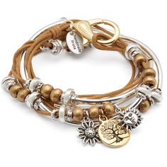 Lizzy James Boho with Gold Tree of Life Charm Trio In Cotton Cord Wrap... ($125) ❤ liked on Polyvore featuring jewelry, bracelets, gold jewelry, bohemian jewelry, braided wrap bracelet, yellow gold bangle and gold charms
