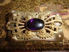 Art Nouveau/Art Deco Brass Brooch with Amethyst Glass Center
