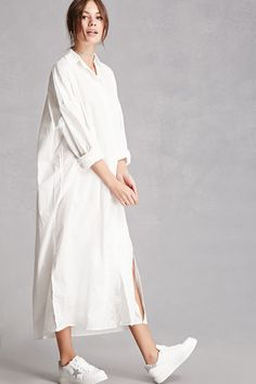 This longline cotton woven shirt dress features an oversized silhouette with dropped shoulders, a button-front placket, basic collar, chest pat… Cotton Shirt Dress, Long Shirt Dress, Blouse Dress, Dress Up, Long White Shirt Outfit, Collar Dress, Muslim Fashion, Hijab Fashion, Fashion Dresses