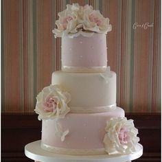 Pink and cream colored cake