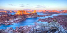 Lake Powell Lake Powell, Utah sky outdoor canyon Nature valley mountain wilderness landform sunrise reflection rock Sea dawn Winter morning Coast landscape River Sunset loch cliff Lake plateau dusk evening crater lake geology snow orange national park terrain