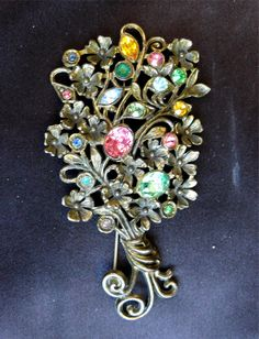 Spectacular Antique Bohemian Czech Large Brooch w/ Colored Rhinestones #Unbranded