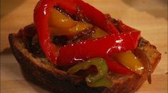 Kitchen Boss- Sauteed Spicy Peppers on Crostini Sauteed Peppers, Sausage And Peppers, Kitchen Boss, Cake Boss Recipes, Buddy Valastro, Cooking Videos, Finger Foods, Italian Recipes, Spicy