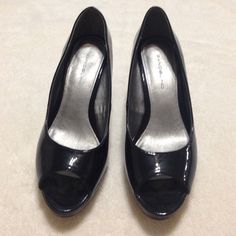 "Bandolini Black 3"" Heels 🎉🎉HP🎉🎉 Worn a handful of times. Was purchased as a floor sample. There are some scuffs and nicks which comes with the territory of patent leather. Also a scratch on inside of left shoe (see pic #4). Overall, though, in great shape! Bandolino Shoes Heels"