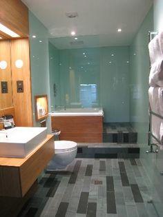 Megaro hotel bathroom    Bamboo, glass and a Japenese soaking bath.