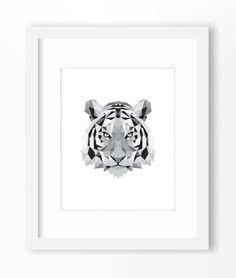 Tiger Print, Tiger Art, Tiger Wall Art, Geometric Tiger Print, Tiger Print, Origami Tiger, Geometric Tiger, Triangle Tiger, Tiger Face by Abodica on Etsy https://www.etsy.com/listing/211473517/tiger-print-tiger-art-tiger-wall-art