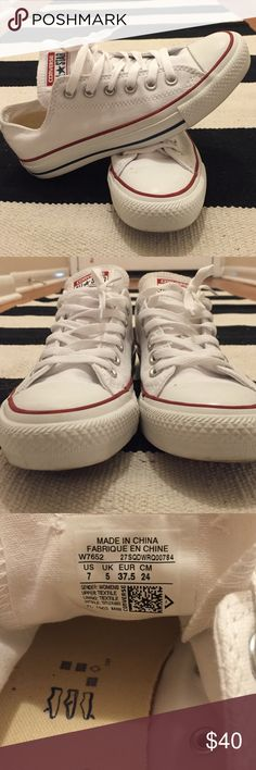 White All Star Low-rise Converse White converse in great condition! Only worn a few times, I'm only selling because they're a little too narrow at the toes. Fit more like a 7.5-8 women's than actual size of 7 as pictured. Let me know if you have any questions! Converse Shoes Sneakers