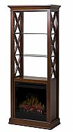 "29"" Dimplex Seabert Walnut Electrical Fireplace. This unique étagère comes complete with atmospheric under-cabinet touch lighting, a fireplace that may be operated with or without heat and a rich walnut finish."