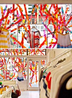 Rowena Martinich's work on the windows of the Dagmar Rousset store in Gertrude St Fitzroy Melbourne (the best street for design in Australia!) #retail #Australia #Windows Tips to create store windows: https://www.sishop.com.au/blog/retail-christmas-tips-attract-customer-with-effective-window-displays/