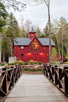 Cross over the wooden bridge and that's where the red barn waits~