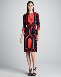 "Melissa Masse  Hexagon-Print Jersey Dress  1  1 Review  Hexagon-print jersey.  Banded caftan neckline with split placket.  Three-quarter sleeves with banded cuffs.  Self tie belt.  Straight skirt.  Approx. 38""L.  Rayon/polyester/spandex. $295"