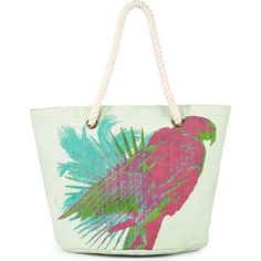 Parrots Talk - large canvas beachbag in #mint and #pink ss16