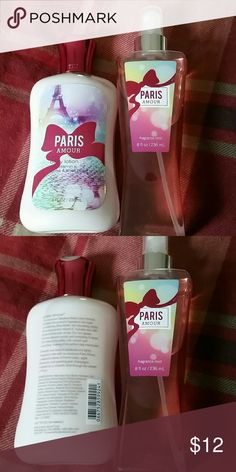 Paris Amour Bath & Body Works Set Brand NEW Paris Amour Bath & Body Works Set  Listed as: Body lotion:$12.50 Fragrance Mist:$14.00  Key notes: French tulips, apple blossoms, & sparkling pink champagne Bath & Body Works  Other