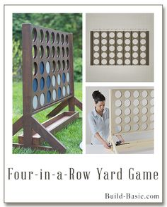 Instructions to build this giant Connect Four-style game! Free building plans by. - Before After DIY Diy Wood Projects, Fun Projects, Wood Crafts, Wood Projects That Sell, Project Ideas, Craft Ideas, Handmade Home, Woodworking Projects Plans, Woodworking Crafts