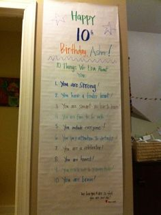 Great idea for Birthdays! Double-Digit Birthday Boy or Girl Celebrating! Why you are awesome list for your kid's birthday. Easy and inexpensive way to say I love you on a birthday. Birthday Morning Surprise, Happy 10th Birthday, Golden Birthday, 10th Birthday Parties, Birthday Fun, Birthday Celebration, Birthday Party Themes, Birthday Recipes, Birthday Surprise Ideas