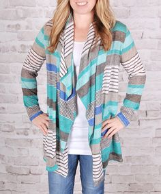 Another great find on #zulily! Mint & Gray Open Front Cardigan #zulilyfinds