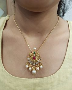 When it comes to the locket with a number of smaller sized stones the diamonds weight are totaled to provide you an overall carat weight for the pendant. Gold Earrings Designs, Gold Jewellery Design, Necklace Designs, Gold Haram Designs, Vaddanam Designs, Handmade Jewellery, Gold Pendent, Diamond Pendant, Gold Jewelry Simple