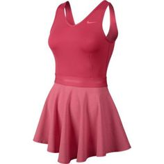 NEW! NIKE TENNIS WOMEN'S HEATHERED V-NECK DRESS - FUSION RED