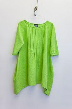 Casual loose dress Linen shirt women blouse lime green by Nmeno1