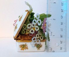 """Signed Made in France For Bonwit Teller Trinket Box Gold Painted Beaded Flowers Like our page on Facebook: https://www.facebook.com/MedusaMaire/ and click the """"Shop Now"""" button to see all of our items for sale"""