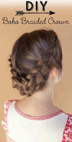 DIY Boho Braided Crown. #hair #hairstyle #braid #tutorial #prom #wedding Inspired by L'Oreal Advanced Hairstyles
