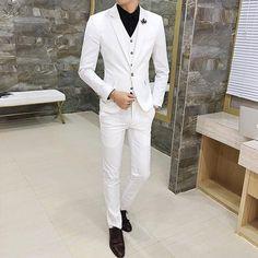 White Mens Suits Fashion Business Male Formal Suit Tuxedo Size 3XL Mens Wedding Suits 2019