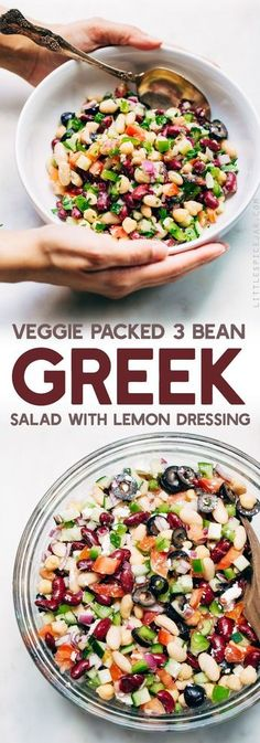 Veggie-Packed Three Bean Greek Salad - A three bean salad meets a chopped greek salad. This salad takes 15 minutes to make and is a nice change to the usual ones we enjoy in the summer! #threebeansalad #choppedgreeksalad #greeksalad #3beansalad #salad   Littlespicejar.com