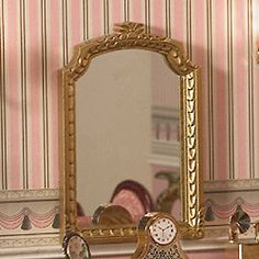 Ornate large mantel mirror in a gold-finish 93 x 65 x 6mm, dollhouse style, 1:12 scale