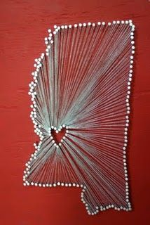 string art states - make an outline of your state and a heart where you live (or are from), go over the outlines with pushpins, and wrap string from the center heart to the outside border.