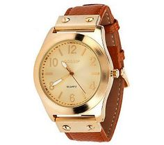 Gossip Goldtone Brushed Case Watch w/ Pebble Leather Strap - only $28 at QVC